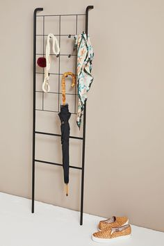 Steel Grid Leaning Storage Ladder | Anthropologie Unique Bedroom Furniture, Furniture Decor, Wall Storage, Storage Organization, Organizing, Leaning Ladder, Blanket Storage, Garment Racks, Bathroom Essentials