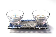 Shabbat Candle Holders   Hand Painted Glass  Blue by LDDecoline, $39.00