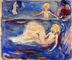 Edvard Munch (Norwegian 1863–1944) [Expressionism, Symbolism] Bathing Children, 1897-1899.
