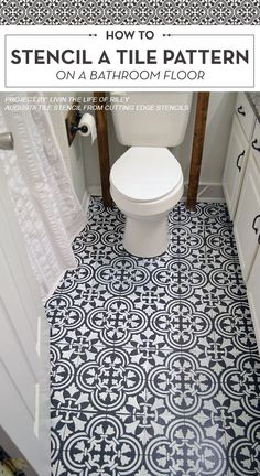 Cutting Edge Stencils shares a DIY tutorial featuring a stenciled linoleum bathroom floor project. The floor was painted using the Augusta Tile Stencil pattern. http://www.cuttingedgestencils.com/augusta-tile-stencil-design-patchwork-tiles-stencils.html