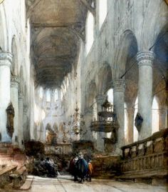 Johannes Bosboom (1817 — 1891, Dutch) Interior of the Pieterskerk, Leiden. watercolour on paper. 56,6 x 46 cm.