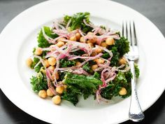Marinated Kale and Chickpea Salad With Sumac Onions replace sumace with regular onion