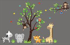 "Jungle Safari Animals Repositionable Reusable Wall Decal Baby Nursery 83"" x 138"""