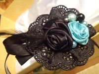 Black rokoko diy fabric headband with ribbon flowers and pearls