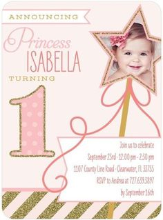 Celebrate your little princess' first birthday with a wand-erful pink birthday party invitation.