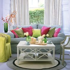 Feminity, colour and quality could perhaps be added by additional cushions, vases and flowers. The sofa itself is tired so could also benefit from a throw. Colourful Living Room, Beautiful Living Rooms, Cozy Living Rooms, Living Room Furniture, Living Room Decor, Living Area, Colorful Interior Design, Colorful Interiors, Home Interior Design