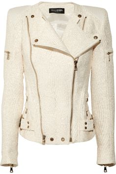 Balmain coated boucl biker jacket