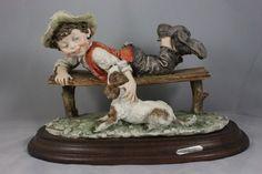 Giuseppe Armani Figurine Boy on Bench with Dog MINT WorldWide