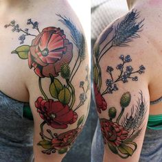 Brightly colored floral tattoo-- love the incorporation of many flowers