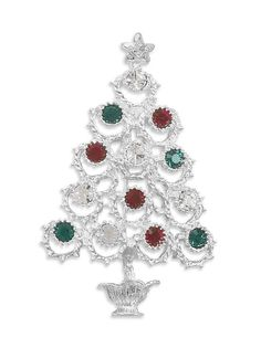 Tree Fashion Pin with Multi Color Swarovski Crystals
