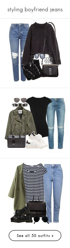 """""""styling boyfriend jeans"""" by camilae97 ❤ liked on Polyvore featuring Topshop, H&M, Proenza Schouler, Rebecca Minkoff, Kyme, Current/Elliott, Esteban Cortazar, Acne Studios, Étoile Isabel Marant and Yves Saint Laurent"""