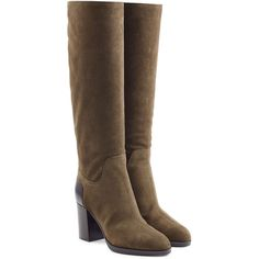 Sergio Rossi Suede Knee Boots (3 990 PLN) ❤ liked on Polyvore featuring shoes, boots, green, suede knee-high boots, suede knee high heel boots, zipper boots, high heel boots and tall knee high boots