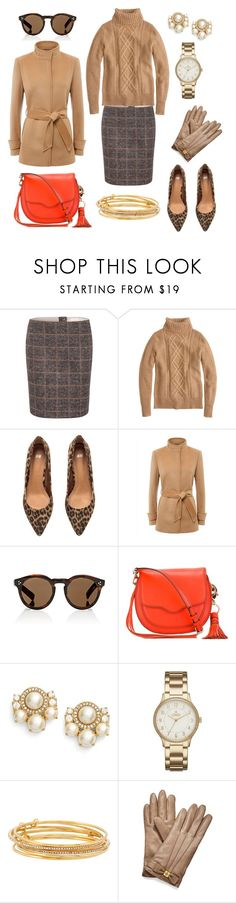 """""""Camel Coat, Plaid Skirt & Leopard Pumps"""" by pinkngreennblack ❤ liked on Polyvore featuring Oui, J.Crew, H&M, Jaeger, Illesteva, Rebecca Minkoff, Kate Spade, Chaps, Tory Burch and bows"""