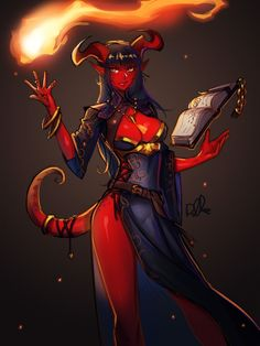 """""""Tiefling Wizard : > She harnesses the power of the knowledge hidden away in the Nine Hells. What do you guys think? Dark Fantasy Art, Fantasy Demon, Fantasy Warrior, Fantasy Girl, Fantasy Artwork, Dungeons E Dragons, Dungeons And Dragons Characters, Dnd Characters, Fantasy Characters"""