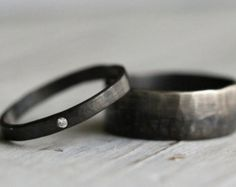 His & Hers Couple Ring Set-Personalized Recycled by palefishny