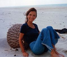 Lee Radziwill, all easy elegance in raw denim and a t-shirt, photographed by Harry Benson for W magazine in 1977.