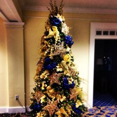 christmas tree in navy gold and yellow gold christmas tree christmas tree ideas - Blue And Gold Christmas Tree