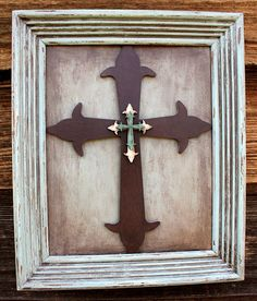 Painted Wood Cross in Ribbed Wood Frame by BetterThanABiscuit, $30.00