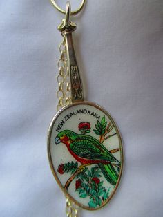 NZ native Kaka- vintage and rare enameled spoon necklace with threepence and shilling jewellery - SS chain  www.bornwithasilverspoon.co.nz