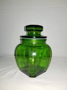 Vintage Green Apothecary Jar,Green Glass Canister,Green Apothecary Jar, Green  Glass Jar