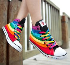 91653ceb7302 Chic Womens Girls Multi Color Rainbow High Top Sneakers Boots Canvas  Plimsolls