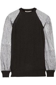 Jason Wu Lace-paneled cashmere and silk-blend sweater  | NET-A-PORTER