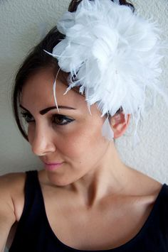 Bridal White Feather Flower Clip  Fluffy White by EyeHeartMe, $48.00
