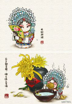 the opera characters into a delicious Chinese food you ever seen such a cute cartoon opera it? When traditional Chinese Beijing peking opera culture met the trendy artists, created a series of creative images, so funny! Asian Quilts, Chinese Opera, China Art, China Painting, Ancient Art, Character Illustration, Manga, Cute Art, Illustrators