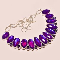 SPARKLING RAINBOW FIRE TOPAZ ALONG WITH AMETHYST .925 SILVER NECKLACE #Handmade #Choker