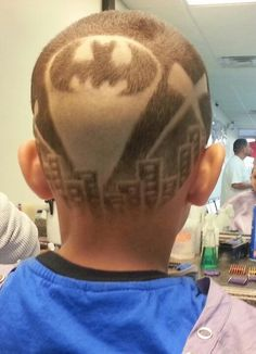 Batman hair tattooto much?not for my boyz!!!    ) Wowzers it could be my grandsonsthey have the haircut already!  | tattoos picture hair tattoo