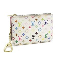 Louis Vuitton Pochette Cles Monogram Multicolore Wallets White Canvas M93734