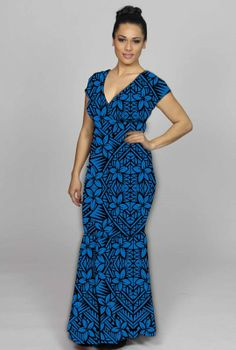 the blue dress Island Outfit, Island Wear, Samoan Dress, Island Style Clothing, Plus Size Gowns, Different Dresses, Floral Maxi Dress, Dress Patterns, Designer Dresses