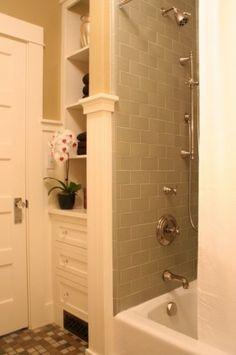 Bead board, tile edging, & bathroom tiles