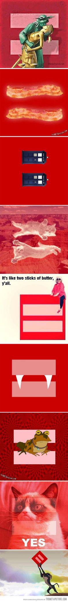 Different versions of the marriage equality symbol. Paula Deen is my favorite.
