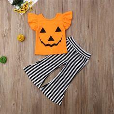 Baby / Toddler Halloween Flutter-sleeve Pumpkin Top and Striped Bellbottom Pants Set, Toddler Halloween Outfits, Baby Girl Halloween Outfit, Toddler Outfits, Halloween Baby Clothes, Pumpkin Outfit, Pumpkin Costume, Kids Outfits Girls, Girl Outfits, Festival Girls