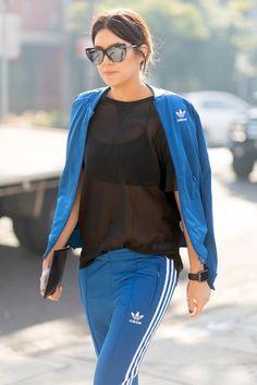 Sunglasses: le fashion image blogger black sportswear mesh top black top sports pants royal blue