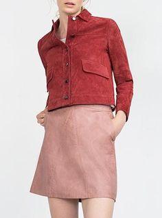 Pink Leather Skirt - Narrow Waist / Metal Zipper Closure / Side Pockets