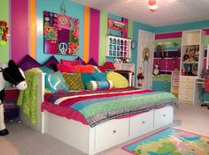 """Same bedspread that E already has!   """"PEACE""""ful Dreams, tween bedroom decorating for the long haul (sorry, forgot to check the sheet tuck after daughter was flopping on bed ;)),..."""
