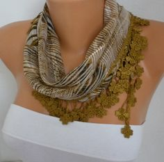 Olive Green Zebra Print Cotton Scarf Christmas Gift by fatwoman