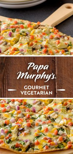 Stay in to bake up gourmet, out-on-the-town pizza with fresh veggie toppings, like roma tomatoes, mushrooms and creamy garlic sauce. Creamy Garlic Sauce, Veggie Pizza, Roma Tomatoes, Menu Items, Stuffed Mushrooms, Veggies, Vegetarian, Fresh, Baking