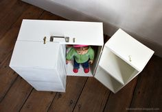 Doll Closet - Folding 18 Inch Doll Furniture Storage Trunk with Bed Diy Storage Trunk, Doll Storage, Furniture Storage, Diy Dolls Wardrobe, Barbie Wardrobe, Doll Closet, Closet Rod, Wooden Projects, Diy Projects