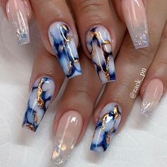 Marble nails are super trendy right now! To get you inspired, we have found 43 stunning marble nail art ideas for you to try. Marble Nail Designs, Cute Acrylic Nail Designs, Nail Art Designs, Nails Design, Nail Crystal Designs, Summer Acrylic Nails, Best Acrylic Nails, Summer Nails, Spring Nails