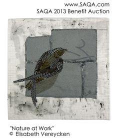 Art quilt by Elisabeth Vereycken Bird Quilt, Little Birdie, Fabric Birds, Media Images, Bird Feathers, Textile Art, Fiber Art, Benefit, Projects To Try