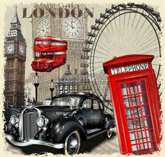 classic cars travel posters