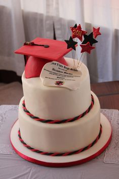 This cake was covered in white fondant. The hat and stars are edible.  Look close...the diploma is a replica of Norco High School Diplom...