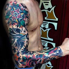 60 Traditional Tattoo Sleeve Designs For Men - Old School Id.- 60 Traditional Tattoo Sleeve Designs For Men – Old School Ideas Colorful Male Traditional Sleeve Tattoo Designs - Fake Tattoo Sleeves, Full Sleeve Tattoos, Tattoo Sleeve Designs, Tattoo Designs Men, Old School Tattoo Sleeve, Space Tattoo Sleeve, Fake Tattoos, Body Art Tattoos, New Tattoos