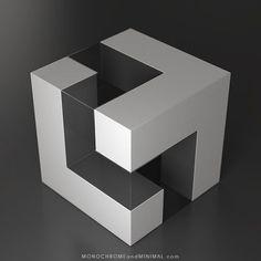 Segmented cube 2017 inspired by Blocos Modulares fom Franz Weissmann in Geometric Sculpture, Geometric Form, Abstract Sculpture, Geometric Designs, Concept Architecture, Modern Architecture, Cube Design, Design Art, Modular Design