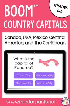 How well do your students know their North American capitals? This 23-card Boom deck will help them learn and review. Betcha even adults don't know them all! Great for World Geography classes, distance learning, and homeschool!  #distancelearning #countrycapitals Library Games, School Librarian, Fun Activities To Do, World Geography, Panama City Panama, Fun Learning, Teaching Resources, Lesson Plans, Distance