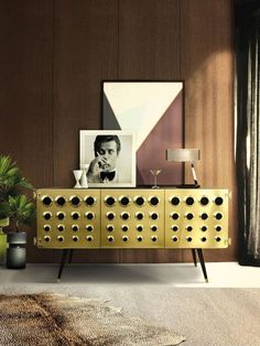 Gold Sideboard Buffet with Leopard print rug Interior design trends 2016