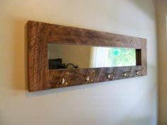 Barn wood mirror coat rack wall coat rack coat by JRusticFurniture, $185.00